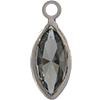 Swarovski 53300 Channel Link Navette Charm in Black Diamond/Rhodium