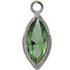 Swarovski 53300 Channel Link Charm in Peridot/Rhodium