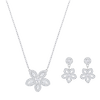 Swarovski Collections - Baron Flower Necklace & Earring Set, Crystal, Rhodium Plating