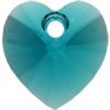 Swarovski 6228 Xilion Heart Pendant Blue Zircon 10.3x10mm