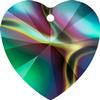 Swarovski 6228 Xilion Heart Pendant Crystal Rainbow Dark 14.4x14mm