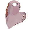 Swarovski 6261 Devoted 2 U Heart Pendant Crystal Antique Pink 17mm