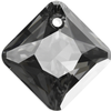 Swarovski 6431 Princess Cut Pendant Crystal Silver Night 9mm