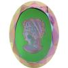 German Cameo Oval Lady's Head Etching 40x30mm Crystal Electra