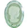 German Cameo Oval Lady's Head Etching 25x18mm Light Peridot/Mystique Etching