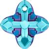 Swarovski 6868 Cross Tribe Pendant Aquamarine Metallic Blue 14mm