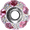 Swarovski 184602 BeCharmed Pave Heart Beads 14mm Crystal Moonlight with Rose Hearts