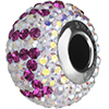 """Swarovski 184702 BeCharmed Pave Mother's Day Beads 14mm Crystal AB with Fuchsia """"MUM"""""""
