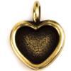 TierraCast® Charm, Heart Bezel, Brass Oxide plated