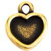 TierraCast® Drop, Heart Bezel, Brass Oxide plated
