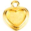TierraCast® Charm, Stepped Heart Bezel, Gold plated