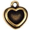 TierraCast® Charm, Stepped Heart Bezel, Brass Oxide plated
