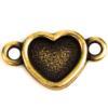 TierraCast® Link, Heart Bezel, Brass Oxide plated