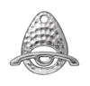 TIERRACAST® Rhodium Plated Clasp Set Hammertone Ellipse