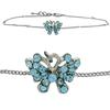 Butterfly Anklet made with Crystals from Swarovski Aqua