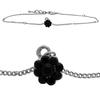 Flower Anklet made with Crystals from Swarovski Jet