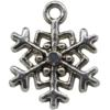 5 Point Snowflake Charm, Base Metal Plated in Imitation Rhodium