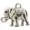 Elephant  Antique Silver Charm, Base Metal Plated in Imitation Rhodium