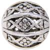 Filigree 09MM Bead, Base Metal Plated in Imitation Rhodium