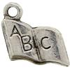 ABC Book Charm, Base Metal Plated in Imitation Rhodium