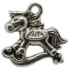 Rocking Horse Charm, Base Metal Plated in Imitation Rhodium