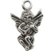 Angel Charm in Antique Silver, Base Metal Plated in Imitation Rhodium