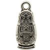 Russian Doll Antique Silver Charm, Base Metal Plated in Imitation Rhodium