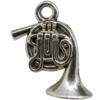 French Horn Charm, Base Metal Plated in Imitation Rhodium