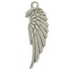 Wing Antique Silver Charm, Base Metal Plated in Imitation Rhodium
