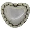 Heart 06MM Spacer Bead, Base Metal Plated in Imitation Rhodium