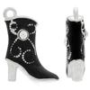 Black Enameled Cowboy Boot with Crystal Accent