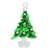 Enameled Green Christmas Tree with White Decorative Ornaments Dangle Charm