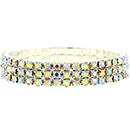3 Row Stretch Bracelet, Crystal AB/Silver