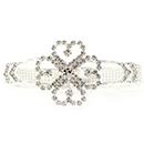 Flower Cuff Rhinestone Bracelet, Crystal/Silver