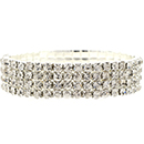 4 Row Stretch Rhinestone Bracelet, Crystal/Silver