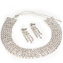 6 Row Adjustable Rhinestone Choker w/Dangle Earrings