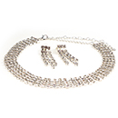4 Row Adjustable Rhinestone Choker w/Dangle Earrings