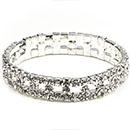 Circle Stretch Rhinestone Bracelet, Crystal/Silver