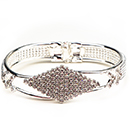 Diamond Cuff Bracelet with Spring Clamp, Crystal/Silver