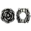 Antique Silver Flower Large Hole Bead  10mm