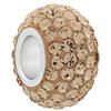 Large Hole Pave Bead with 7 mm wide Sterling Silver Core, Alora Crystals Light Peach 12 mm