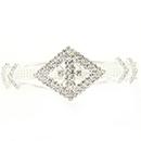 Open Diamond Cuff Rhinestone Bracelet, Crystal/Silver