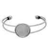 Bangle Bracelet for Epoxy Clay, Rhodium 22mm ID Round Bezel