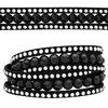 3 Row Double Wrap Bracelet with Snap Clasp Jet/Crystal