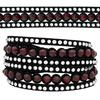 3 Row Double Wrap Bracelet with Snap Clasp Siam/Crystal