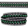 3 Row Double Wrap Bracelet with Snap Clasp Emerald/Crystal