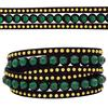 3 Row Double Wrap Bracelet with Snap Clasp Emerald/Topaz