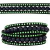 3 Row Double Wrap Bracelet with Snap Clasp Montana/Peridot