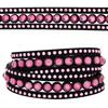 3 Row Double Wrap Bracelet with Snap Clasp Fuchsia/Lt. Rose