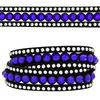 3 Row Double Wrap Bracelet with Snap Clasp Sapphire/Crystal